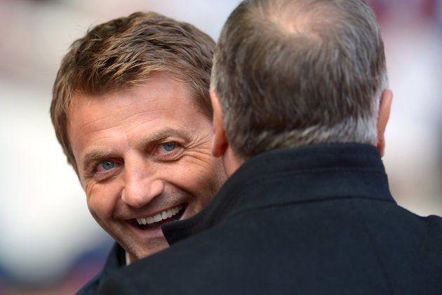 Tottenham Hotspur Manager Tim Sherwood greets West Ham Manager Sam Allardyce